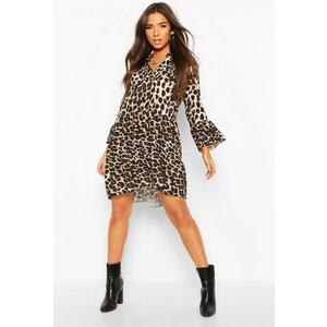 Boohoo Womens Leopard Tiered Smock Dress - Multi - 12, Multi Fzz7388719320 Womens Dresses & Skirts, Multi