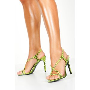 boohoo Womens Lime Snake Strappy Heel Sandals - Green - 6, Green FZZ8738719414 Womens Footwear, Green