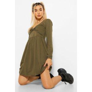 Boohoo Womens Long Sleeve Twist Front Skater Dress - Green - 12, Green Fzz5449213520 Womens Dresses & Skirts, Green