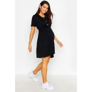 Boohoo Womens Maternity Horn Button Smock Dress - Black - 14, Black Bzz4662310522 Womens Dresses & Skirts, Black
