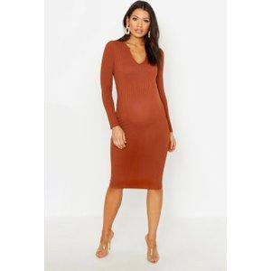 Boohoo Womens Maternity Long Sleeved Notch Midi Dress - Brown - 10, Brown Bzz4720241718 Womens Dresses & Skirts, Brown