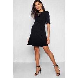 Boohoo Womens Maternity Ruffle Tie Waist Smock Dress - Black - 16, Black Bzz4842210524 Womens Dresses & Skirts, Black