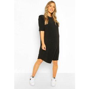 Boohoo Womens Maternity Shoulder Pad Shift Dress - Black - 10, Black Bzz0006410518 Womens Dresses & Skirts, Black