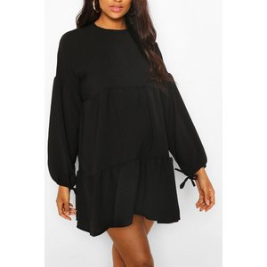 Boohoo Womens Maternity Tiered Tie Sleeve Smock Dress - Black - 12, Black Bzz4546010520 Womens Dresses & Skirts, Black