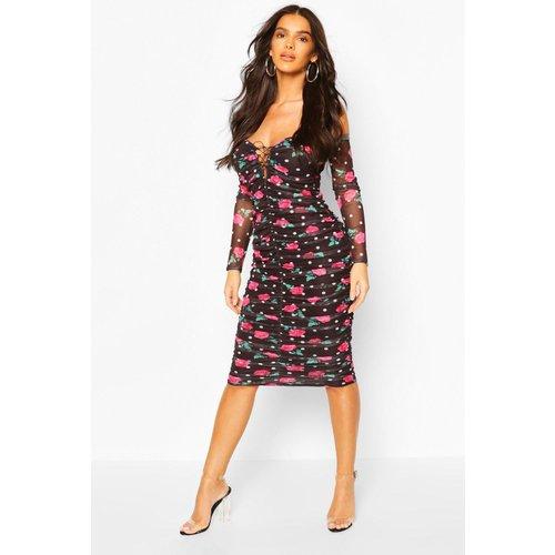 Boohoo Womens Mesh Floral Off The Shoulder Ruched Midi Dress - Black - 8, Black Fzz6752010516 Womens Dresses & Skirts, Black