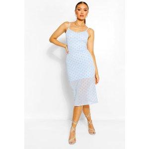 Boohoo Womens Mesh Polka Dot Midi Slip Dress - Blue - 14, Blue Fzz5674710622 Womens Dresses & Skirts, Blue