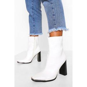 Boohoo Womens Metal Trim Square Toe Sock Boot - White - 5, White Fzz5517617313 Womens Footwear, White