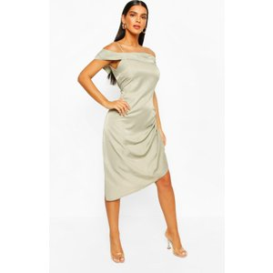 Boohoo Womens Metallic Aysmetric Slip Dress - Green - 14, Green Fzz7313720922 Womens Dresses & Skirts, Green