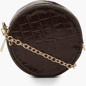 Boohoo Womens Micro Mini Croc Round Drum Cross Body Bag - Brown - One Size, Brown Fzz7973316635 Womens Accessories, Brown