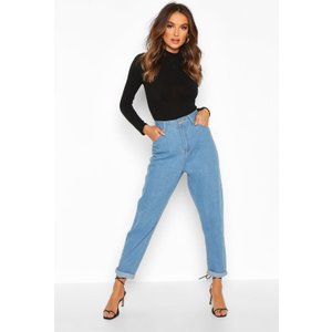 Boohoo Womens Mid Rise Boyfriend Jean - Blue - 8, Blue Fzz9536856416 Womens Trousers, Blue
