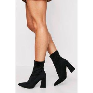 Boohoo Womens Neoprene Heeled Ankle Boots - Black - 6, Black Fzz6700310514 Womens Footwear, Black