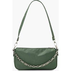 Boohoo Womens Nylon Chain Detail Shoulder Bag - Green - One Size, Green Fzz4888113535 Womens Accessories, Green