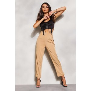 Boohoo Womens Overlay Detail Utility Trousers - Beige - 10, Beige Fzz5777411118 Womens Trousers, Beige