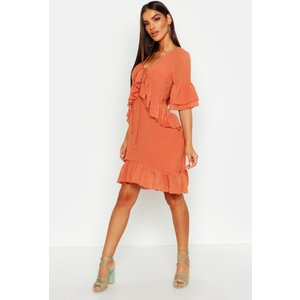 Boohoo Womens Oversized Dobby Ruffle Smock Dress - Orange - 12, Orange Fzz8664120820 Womens Dresses & Skirts, Orange