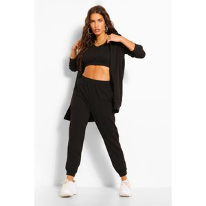 Boohoo Womens Oversized Hoody Crop And Jogger Set - Black - M, Black Fzz5621710556 Womens Sportswear, Black