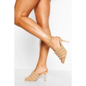 Boohoo Womens Padded Strap Square Toe Mules - Beige - 3, Beige Fzz5517529511 Womens Footwear, Beige