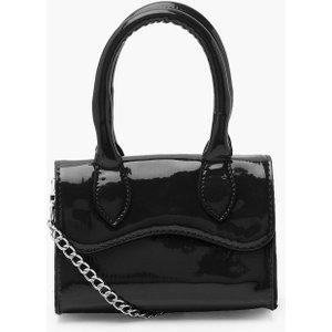 Boohoo Womens Patent Mini Structured Handle Cross Body Bag - Black - One Size, Black Fzz4716310535 Bags, Black