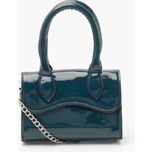 Boohoo Womens Patent Mini Structured Handle Cross Body Bag - Navy - One Size, Navy Fzz4716314835 Bags, Navy