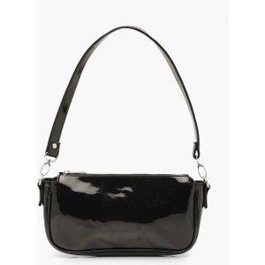Boohoo Womens Patent Shoulder Bag - Black - One Size, Black Fzz6825110535 Bags, Black