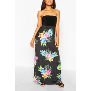 Boohoo Womens Petite Bandeau Floral Maxi Dress - Black - 8, Black Pzz6382110516 Womens Dresses & Skirts, Black
