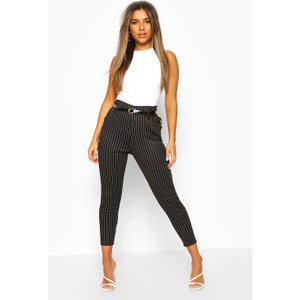 Boohoo Womens Petite Belted Pin Stripe Trouser - Black - 4, Black Pzz6559710512 Womens Trousers, Black