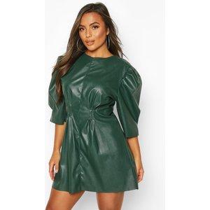 Boohoo Womens Petite Faux Leather Puff Sleeve Dress - Green - 8, Green Pzz6742013016 Womens Dresses & Skirts, Green