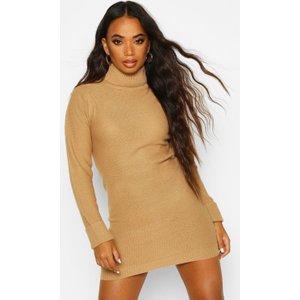 Boohoo Womens Petite Knitted Roll Neck Jumper Dress - Beige - Xs, Beige Pzz7292711137 Womens Dresses & Skirts, Beige
