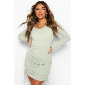 Boohoo Womens Petite Long Sleeve Ruched Side Mini Dress - Green - 14, Green Pzz6070020922 Womens Dresses & Skirts, Green