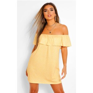 Boohoo Womens Petite Polka Dot Off The Shoulder Swing Dress - Yellow - 14, Yellow Pzz6231717422 Womens Dresses & Skirts, Yellow