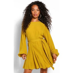 Boohoo Womens Petite Polka Dot Volume Sleeve Skater Dress - Yellow - 10, Yellow Pzz6184817418 Womens Dresses & Skirts, Yellow