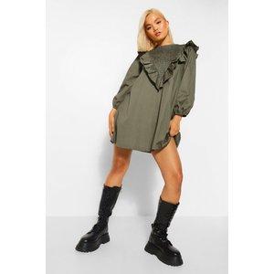 Boohoo Womens Petite Poplin Shirred Frill Neck Smock Dress - Green - 4, Green Pzz6022213512 Womens Dresses & Skirts, Green