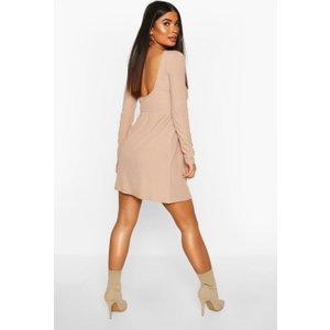Boohoo Womens Petite Rib Scoop Back Skater Dress - Beige - 4, Beige Pzz6737416512 Womens Dresses & Skirts, Beige