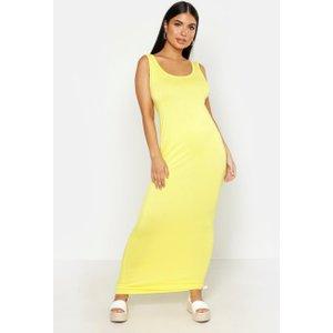 Boohoo Womens Petite Sandy Scoop Neck Maxi Dress - Yellow - 12, Yellow Azz2783817420 Womens Dresses & Skirts, Yellow