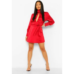 Boohoo Womens Petite Satin High Neck Backless Mini Dress - Red - 8, Red Pzz5869529316 Womens Dresses & Skirts, Red
