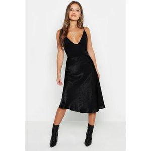 Boohoo Womens Petite Satin Midi Skirt - Black - 12, Black Pzz7508410520 Womens Dresses & Skirts, Black