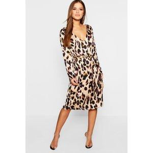 Boohoo Womens Petite Satin Wrap Tie Leopard Print Dress - Brown - 12, Brown Pzz7775210820 Womens Dresses & Skirts, Brown