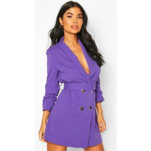 Boohoo Womens Petite Self Belt Button Blazer Dress - Purple - 12, Purple Pzz7317915620 Womens Dresses & Skirts, Purple