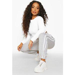 Boohoo Womens Petite Side Stripe Boyfriend Joggers - Grey - 4, Grey Pzz6832626512 Womens Trousers, Grey