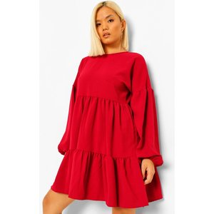 Boohoo Womens Petite Tiered Balloon Sleeve Smock Dress - 8, Red Pzz6446910416 Womens Dresses & Skirts, Red