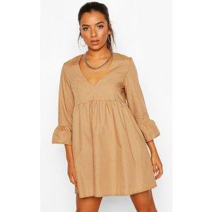 Boohoo Womens Petite V Neck Smock Dress - Beige - 16, Beige Pzz7343311124 Womens Dresses & Skirts, Beige