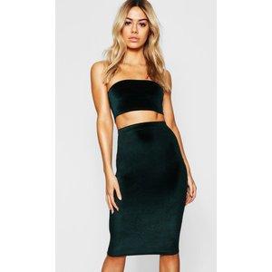 Boohoo Womens Petite Velvet Midi Skirt - Green - 10, Green Pzz7638812518 Womens Dresses & Skirts, Green