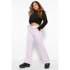 Boohoo Womens Petite Wide Leg Split Hem Joggers - Purple - 14, Purple Pzz6058213722 Womens Trousers, Purple