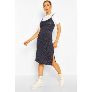 Boohoo Womens Pinstripe T-shirt Layered Midi Slip Dress - Navy - 14, Navy Fzz7387614822 Womens Dresses & Skirts, Navy