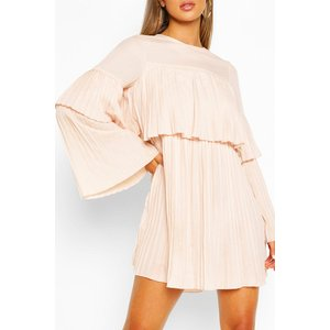 Boohoo Womens Pleated Long Sleeve Swing Dress - Beige - 14, Beige Fzz5719329522 Womens Dresses & Skirts, Beige