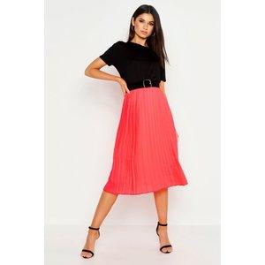Boohoo Womens Pleated Midi Skirt - Orange - 8, Orange Fzz9501912216 Womens Dresses & Skirts, Orange