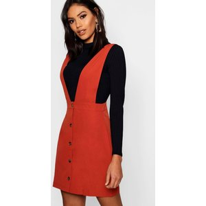 Boohoo Womens Plunge Front Button Pinafore Dress - Orange - 14, Orange Dzz0988020822 Womens Dresses & Skirts, Orange