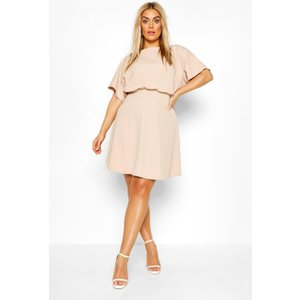 Boohoo Womens Plus Blouson Skater Dress - Beige - 26, Beige Pzz66065165352 Womens Dresses & Skirts, Beige