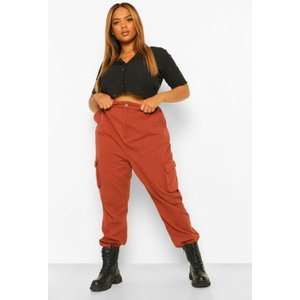 Boohoo Womens Plus Cargo Denim Jeans - Brown - 22, Brown Pzz67732214350 Womens Trousers, Brown