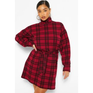 Boohoo Womens Plus Check High Neck Belted Shift Dress - Red - 26, Red Pzz60082104352 Womens Dresses & Skirts, Red