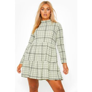 Boohoo Womens Plus Check Tiered Smock Dress - Green - 22, Green Pzz60075209350 Womens Dresses & Skirts, Green